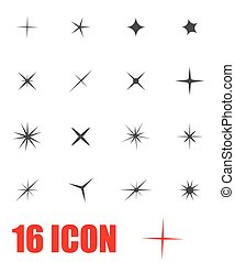 Vector grey sparkles icon set
