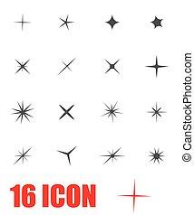 Vector grey sparkles icon set