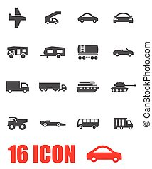 Vector grey vehicles icon set