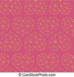 Vector grid pattern with geometric hearts, made of gold glitter