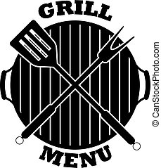 Vector grill menu icon. Isolated on white background.