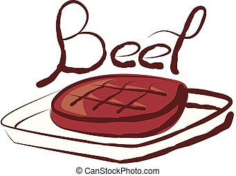 Vector Grilled Beef - vector grilled meat beef with...