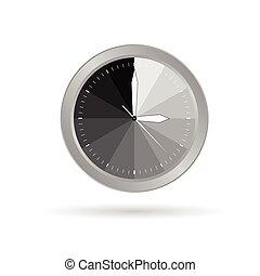 vector, gris, reloj