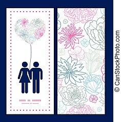 vector, gris, y, rosa, lineart, florals, pareja, enamorado,...
