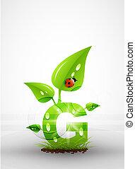 vector, groene, brief, achtergrond
