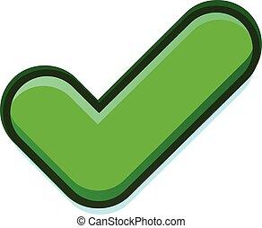 Vector, groene, controleren, pictogram