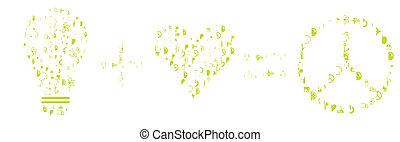 vector, groene, energie, concept, liefde