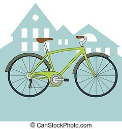 vector, groene, fiets