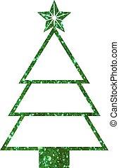 vector, groene, schitteren, kerstboom, plat, pictogram