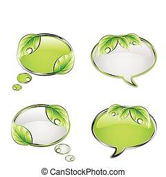 vector, groene, set, spandoek, leaf.