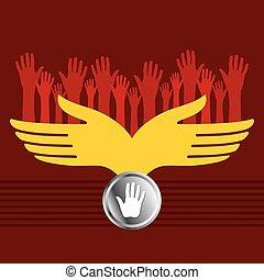 vector, groep, handen