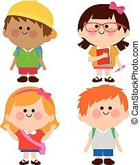 vector, groep, kinderen, illustratie, students.