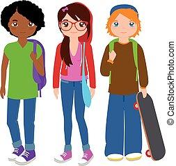 vector, groep, tiener, illustratie, students.