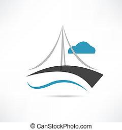 vector, groot, brug, pictogram