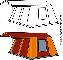 vector, groot, oud, familie kampeerterrein, tentje