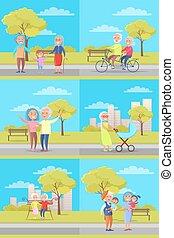 vector, grootouders, affiches, set, geitjes