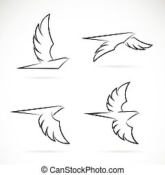 Vector group of an eagle design on white background.