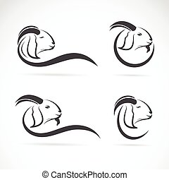 Vector group of an goat design on white background