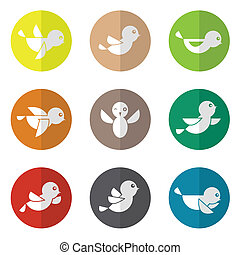 Vector group of bird in the circle