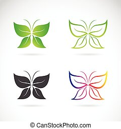 Vector group of butterfly design on white background.