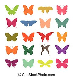 Vector group of colorful butterfly on white background. Butterfly icon. Insect.