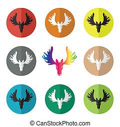 Vector group of deer head in the circle