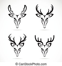 Vector group of deer head on white background.