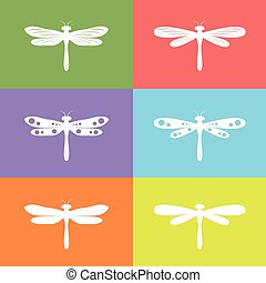 Vector group of dragonfly on colorful background, Animals