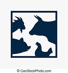 Vector group of farm animal in the frame - cow, pig, chicken, goat