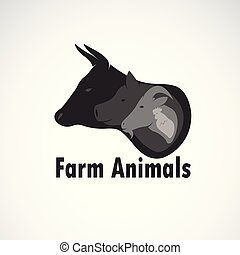 Vector group of farm animals design on white background., Cow, Sheep, Pig, Chicken. Logo Animal. Easy editable layered vector illustration. Animal farm icon.