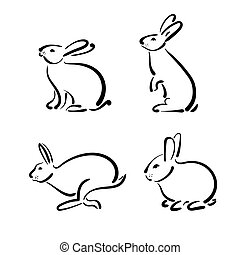 Vector group of hand drawn rabbit on white background.