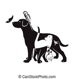 Vector group of pets - Dog, cat, bird, butterfly, rabbit, ...