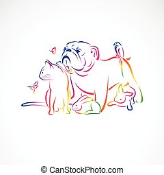 Vector group of pets - Dog, cat, bird, macaw, chameleon, ...