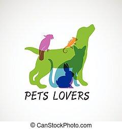 Vector group of pets - Dog, cat, parrot, chameleon, rabbit, ...