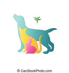Vector group of pets - Dog, cat, rabbit, humming bird ...