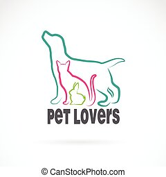 Vector group of pets - Dog, cat, rabbit, isolated on white background. Animal design