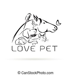 Vector group of pets - Horse, dog, cat, bird, butterfly, chameleon ,rabbit isolated on white background. Pet Icon.