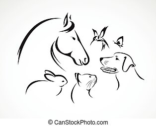 Vector group of pets - Horse, dog, cat, bird, butterfly, rabbit isolated on white background