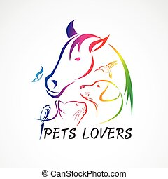 Vector group of pets - Horse, dog, cat, bird, butterfly, rabbit isolated on white background. Pet Icon, Easy editable layered vector illustration. Animal group.