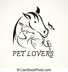 Vector group of pets - Horse, dog, cat, bird, butterfly,...