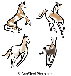 Vector group of pets - Horse isolated on white background.,