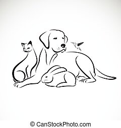 Vector group of pets on white background.  Dog, Cat, Humming bird, Rabbit,