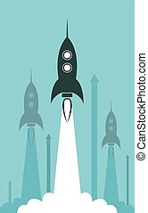 vector group rocket launch illustration as business...