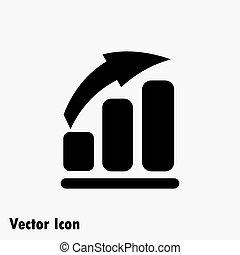 Vector growing graph icon. - Vector growing graph icon