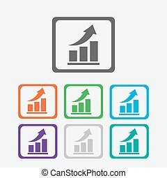 Vector growing graph icon. Infographic chart vector. Round squares buttons with frame. Vector