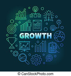Vector Growth colored round outline illustration