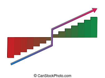 Vector growth progress with arrow