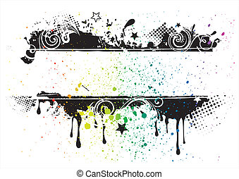 vector, grunge, achtergrond, inkt