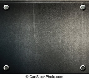 vector grunge background  metal plate with screws