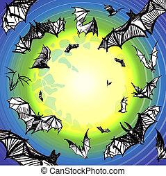 Vector grunge bats flying in night